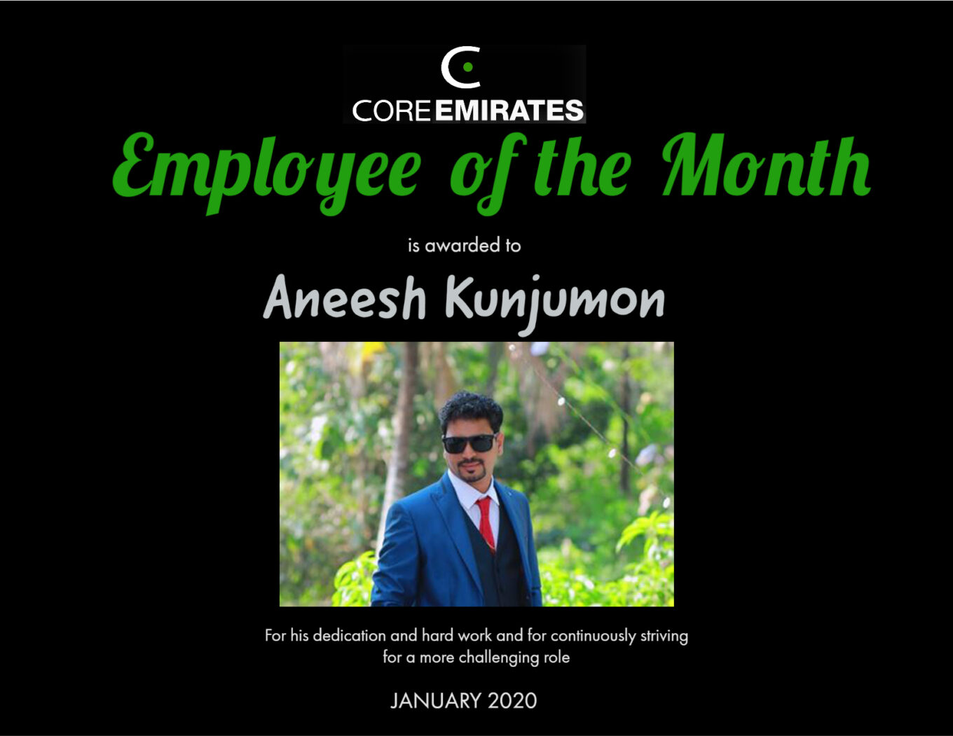 Core emirates employee of the month January 2020